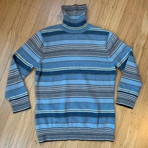 Gap Merino Wool 3/4 Sleeve Stripe Turtleneck